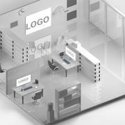 kantoor laag poly scene 3d model