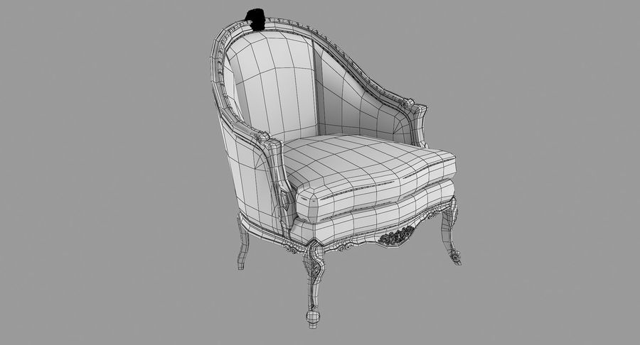VIctorian Baroque Armchair royalty-free 3d model - Preview no. 10