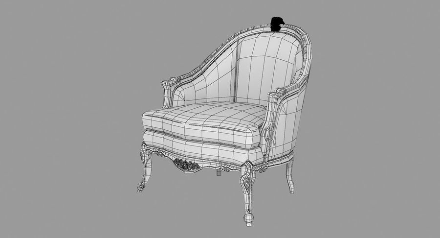 VIctorian Baroque Armchair royalty-free 3d model - Preview no. 9