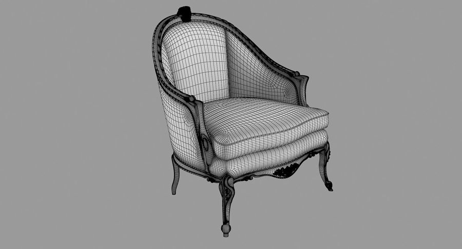 VIctorian Baroque Armchair royalty-free 3d model - Preview no. 7