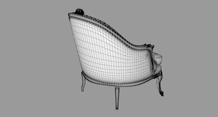 VIctorian Baroque Armchair royalty-free 3d model - Preview no. 8