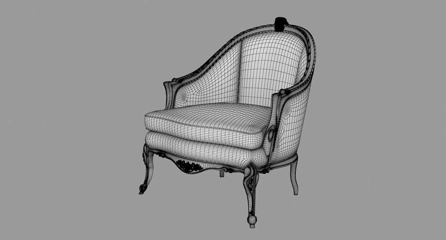 VIctorian Baroque Armchair royalty-free 3d model - Preview no. 6