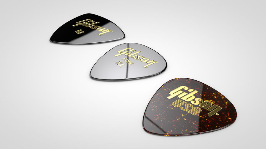 Gibson Guitar Picks royalty-free 3d model - Preview no. 4