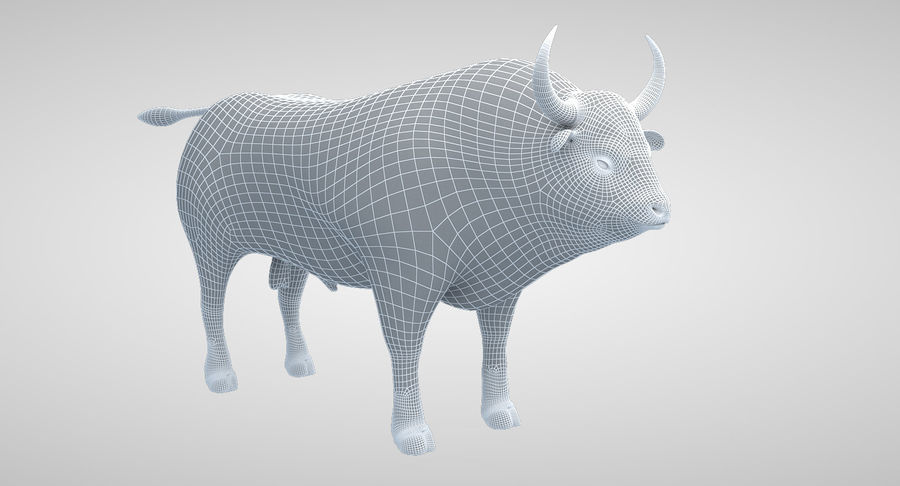 Brown Bull opgetuigd royalty-free 3d model - Preview no. 15