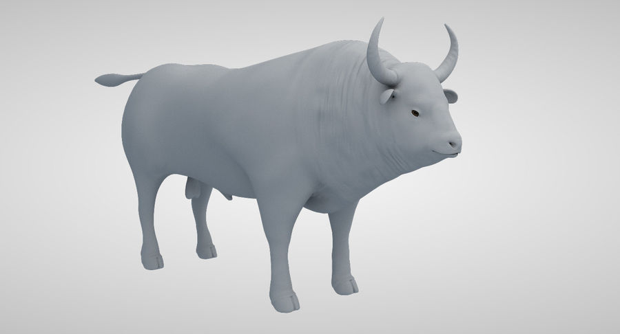 Brown Bull opgetuigd royalty-free 3d model - Preview no. 13