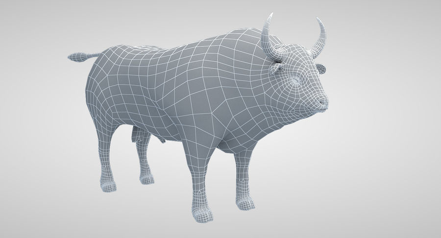 Brown Bull opgetuigd royalty-free 3d model - Preview no. 14