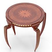 Круглый стол из красного дерева 3d model
