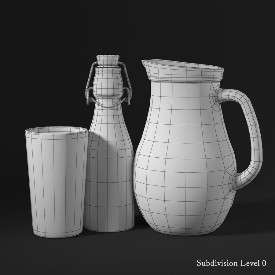 Melkflessen royalty-free 3d model - Preview no. 9