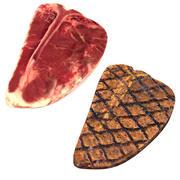 Steaks T-bone crus et grillés 3d model
