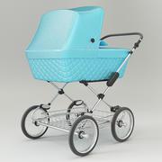 Vintage blue color design baby stroller 3d model