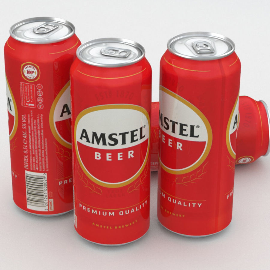 Beer Can Amstel 500ml royalty-free 3d model - Preview no. 1