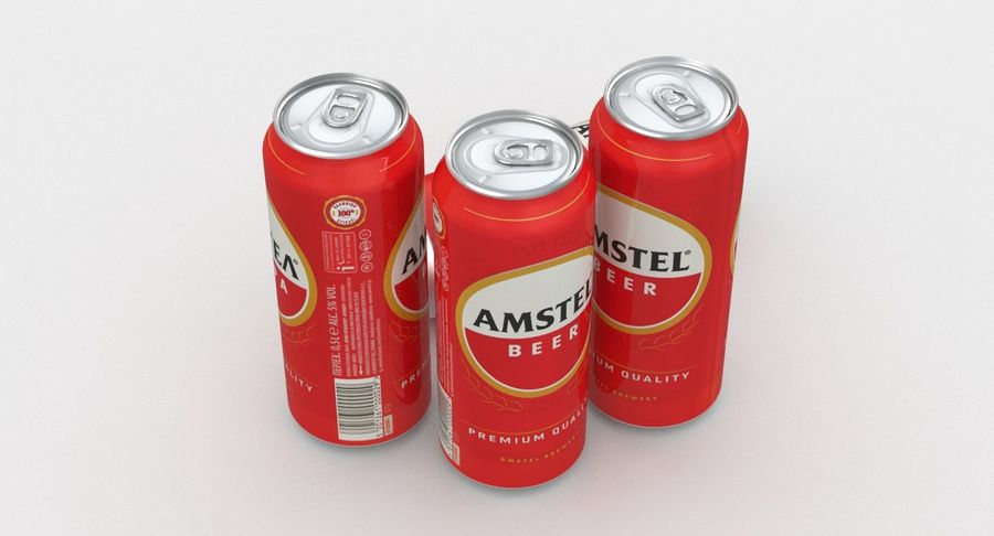 Beer Can Amstel 500ml royalty-free 3d model - Preview no. 3