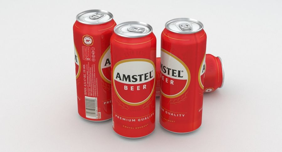 Beer Can Amstel 500ml royalty-free 3d model - Preview no. 2
