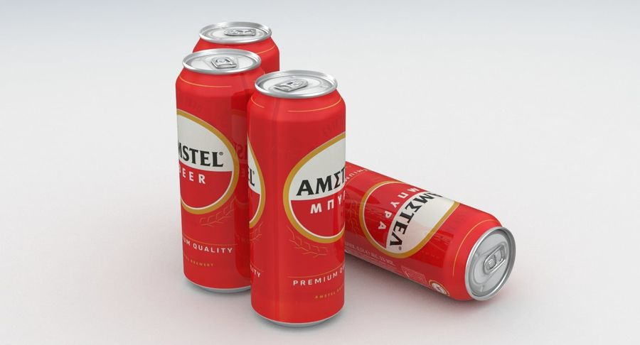 Beer Can Amstel 500ml royalty-free 3d model - Preview no. 6