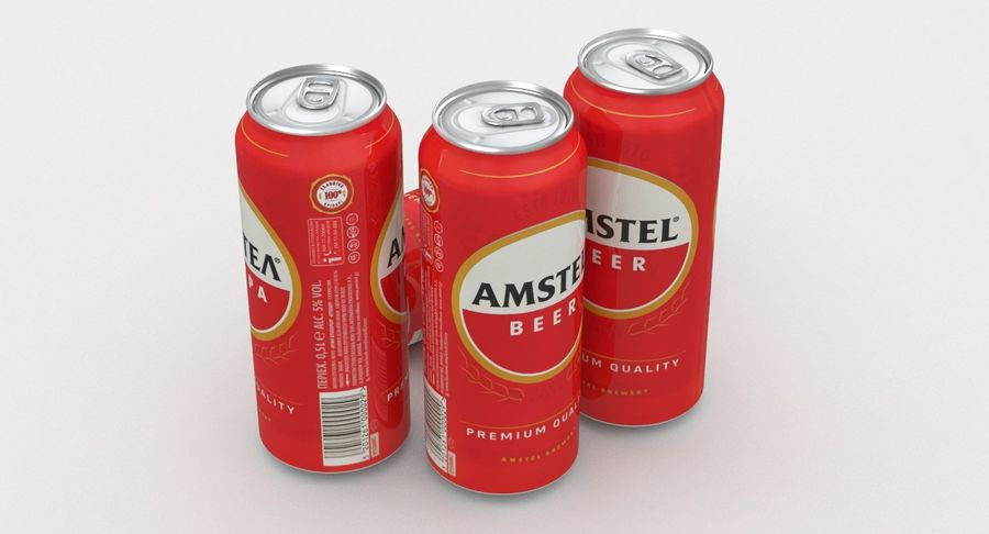 Beer Can Amstel 500ml royalty-free 3d model - Preview no. 4