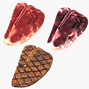 Collection de steaks T-bone 3d model