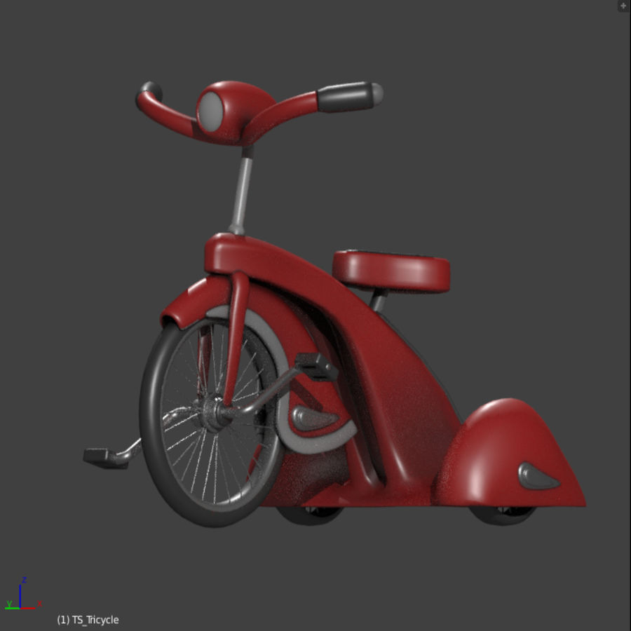 Retro Tricycle royalty-free 3d model - Preview no. 4