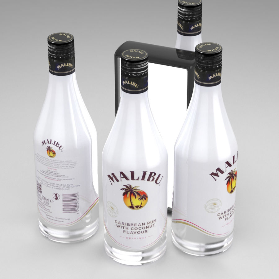 Malibu Caribbean Rum 700ml royalty-free 3d model - Preview no. 1