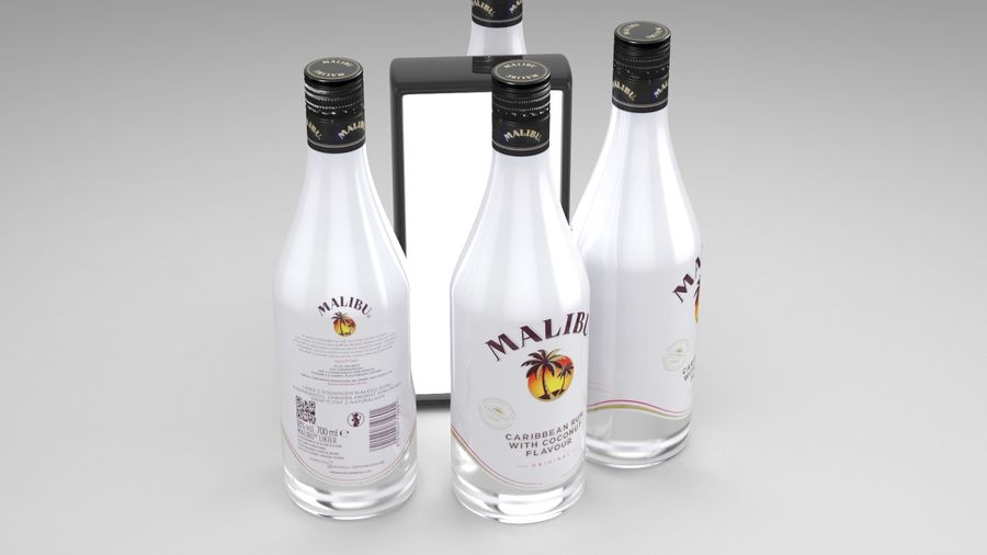 Malibu Caribbean Rum 700ml royalty-free 3d model - Preview no. 3