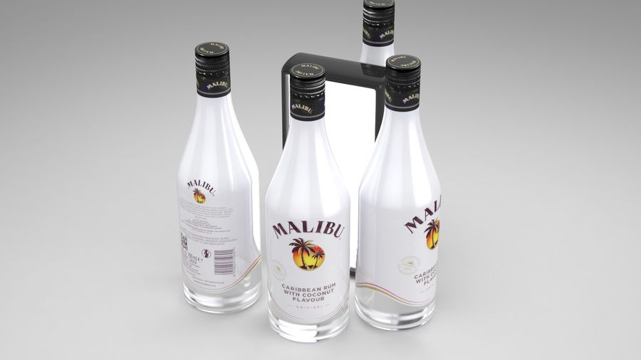 Malibu Caribbean Rum 700ml royalty-free 3d model - Preview no. 2
