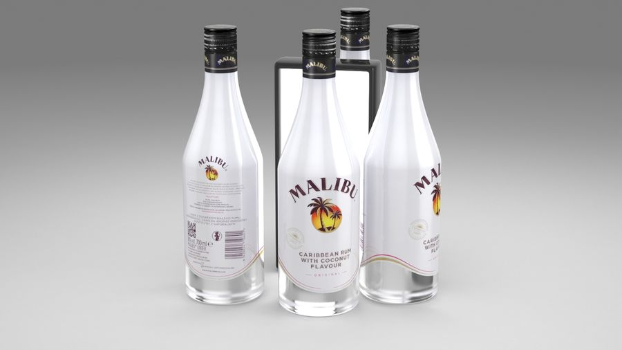 Malibu Caribbean Rum 700ml royalty-free 3d model - Preview no. 9