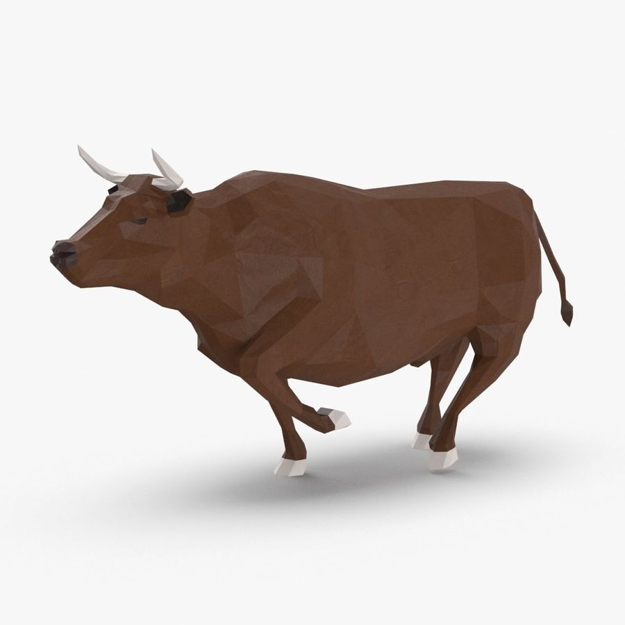 Bull Brown uitgevoerd royalty-free 3d model - Preview no. 1