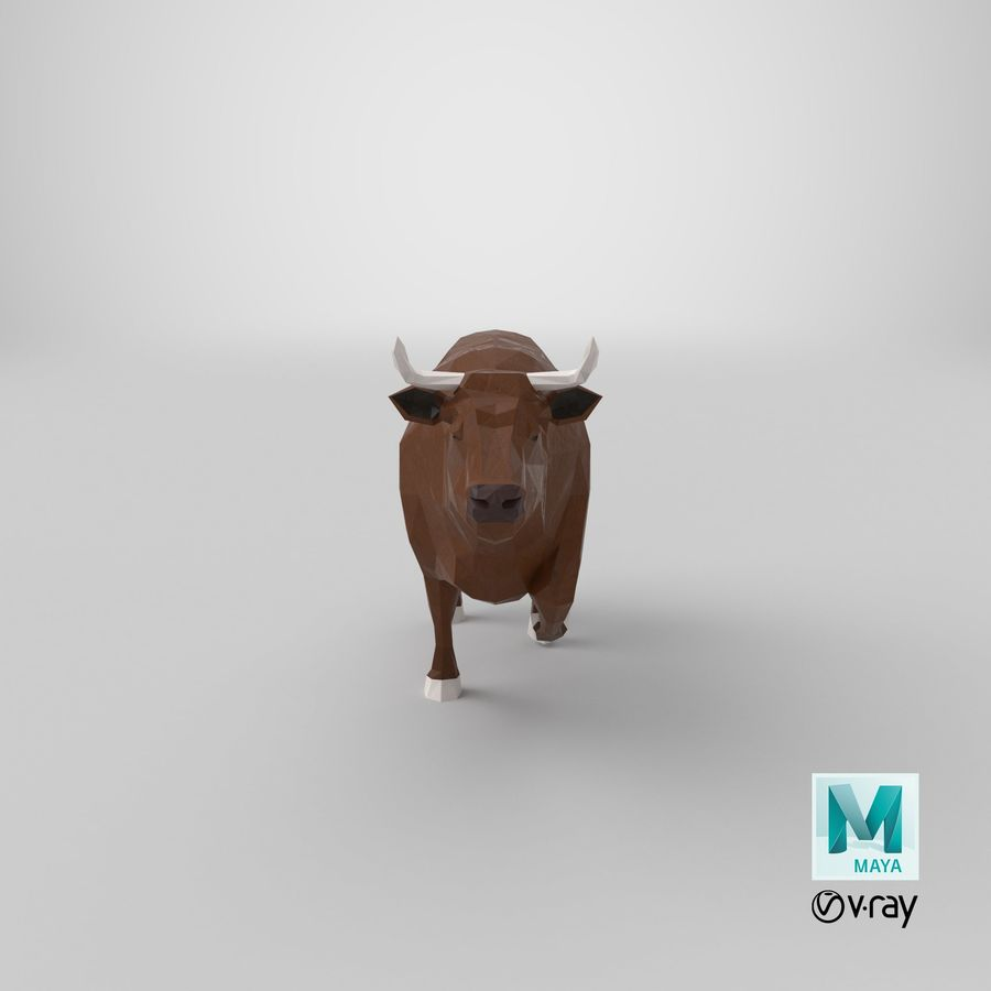 Bull Brown uitgevoerd royalty-free 3d model - Preview no. 21