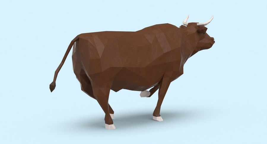 Bull Brown uitgevoerd royalty-free 3d model - Preview no. 6