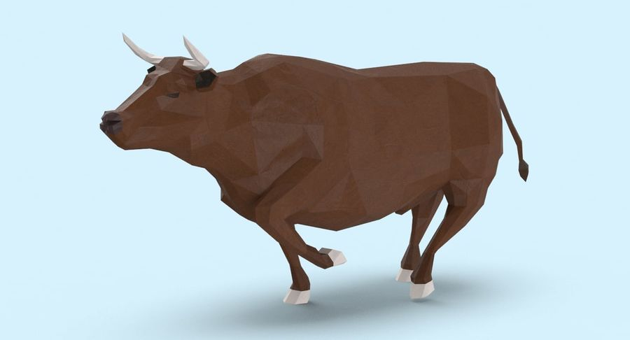 Bull Brown uitgevoerd royalty-free 3d model - Preview no. 3