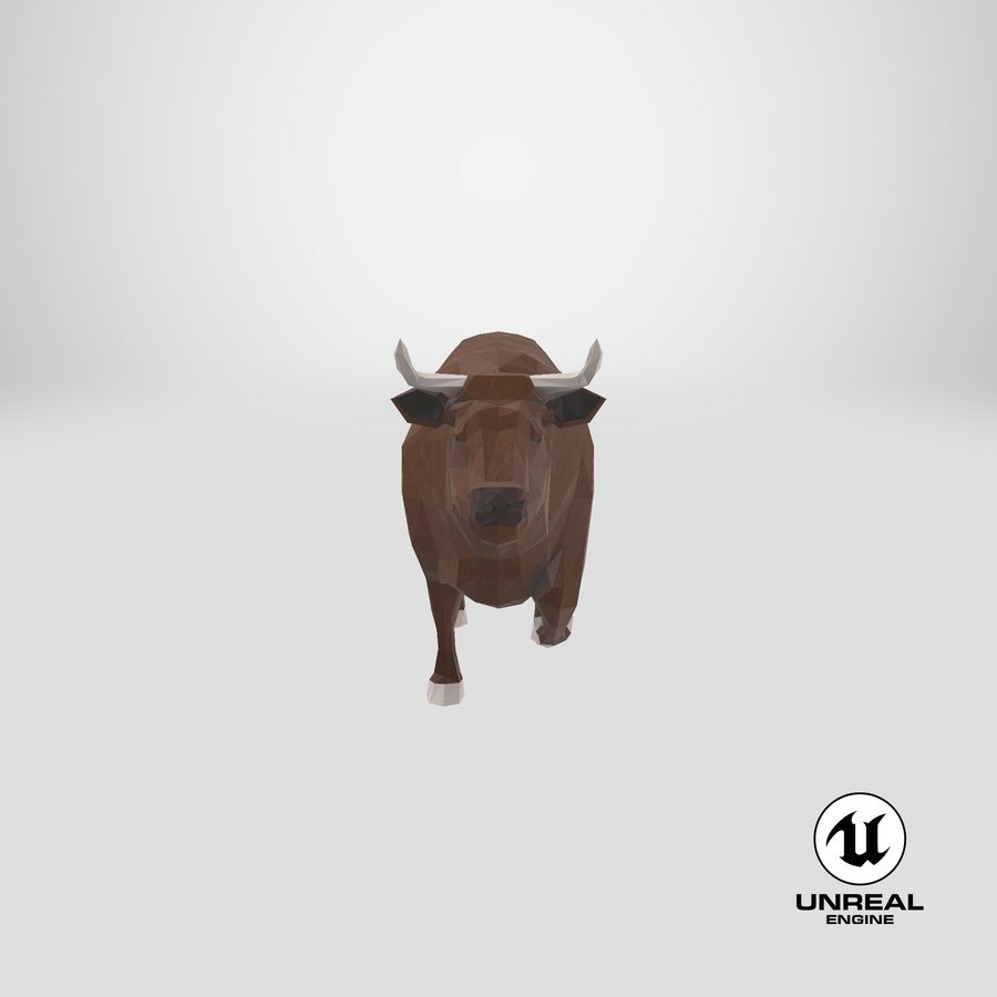Bull Brown uitgevoerd royalty-free 3d model - Preview no. 24