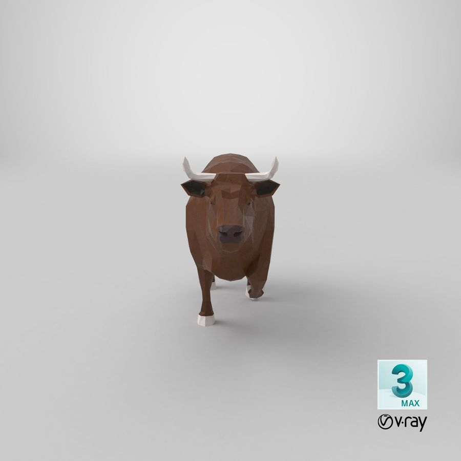 Bull Brown uitgevoerd royalty-free 3d model - Preview no. 19
