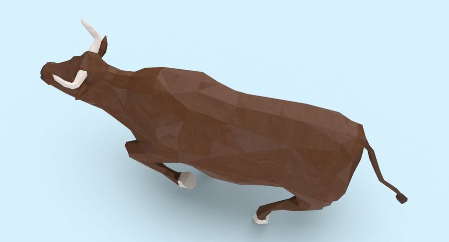 Bull Brown uitgevoerd royalty-free 3d model - Preview no. 8