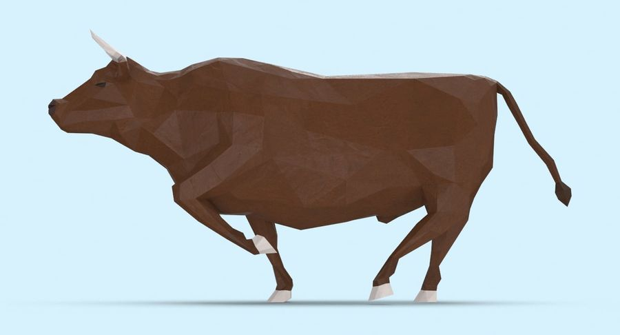 Bull Brown uitgevoerd royalty-free 3d model - Preview no. 7