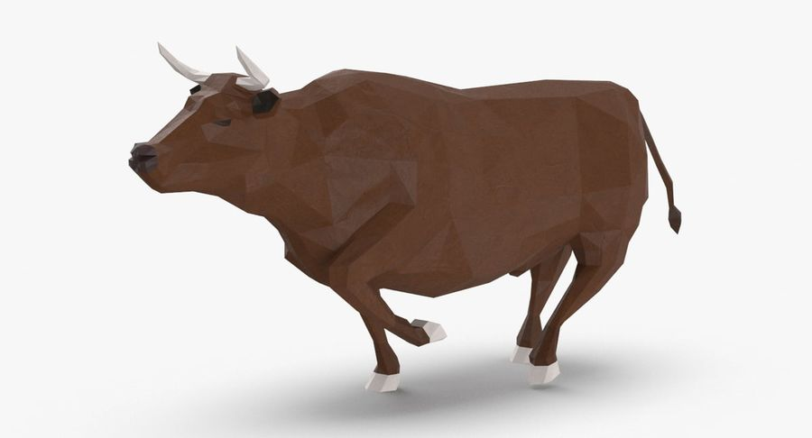 Bull Brown uitgevoerd royalty-free 3d model - Preview no. 2