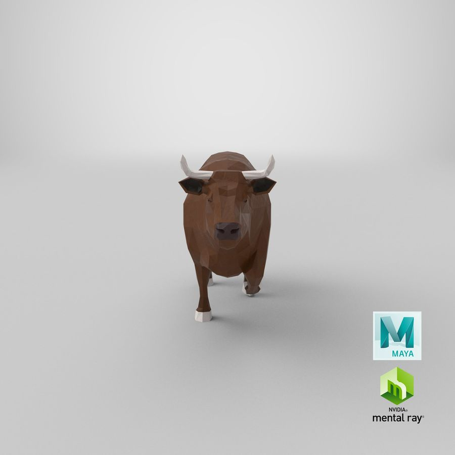 Bull Brown uitgevoerd royalty-free 3d model - Preview no. 20