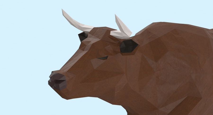 Bull Brown uitgevoerd royalty-free 3d model - Preview no. 9