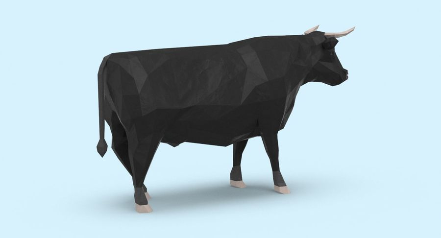Bull Black Standing royalty-free 3d model - Preview no. 6