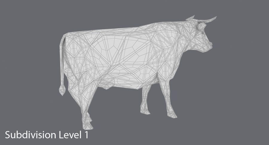 Bull Black Standing royalty-free 3d model - Preview no. 17