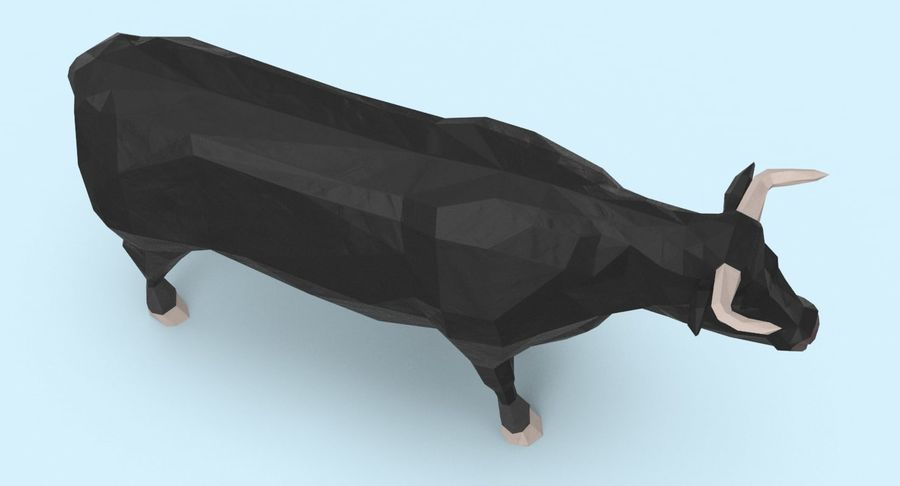 Bull Black Standing royalty-free 3d model - Preview no. 8