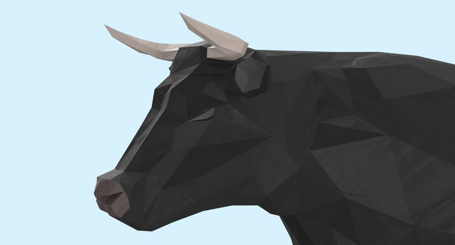 Bull Black Standing royalty-free 3d model - Preview no. 9