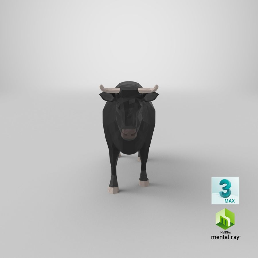 Bull Black Standing royalty-free 3d model - Preview no. 22
