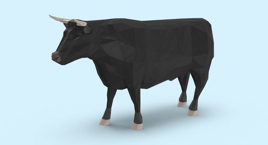 Bull Black Standing royalty-free 3d model - Preview no. 3