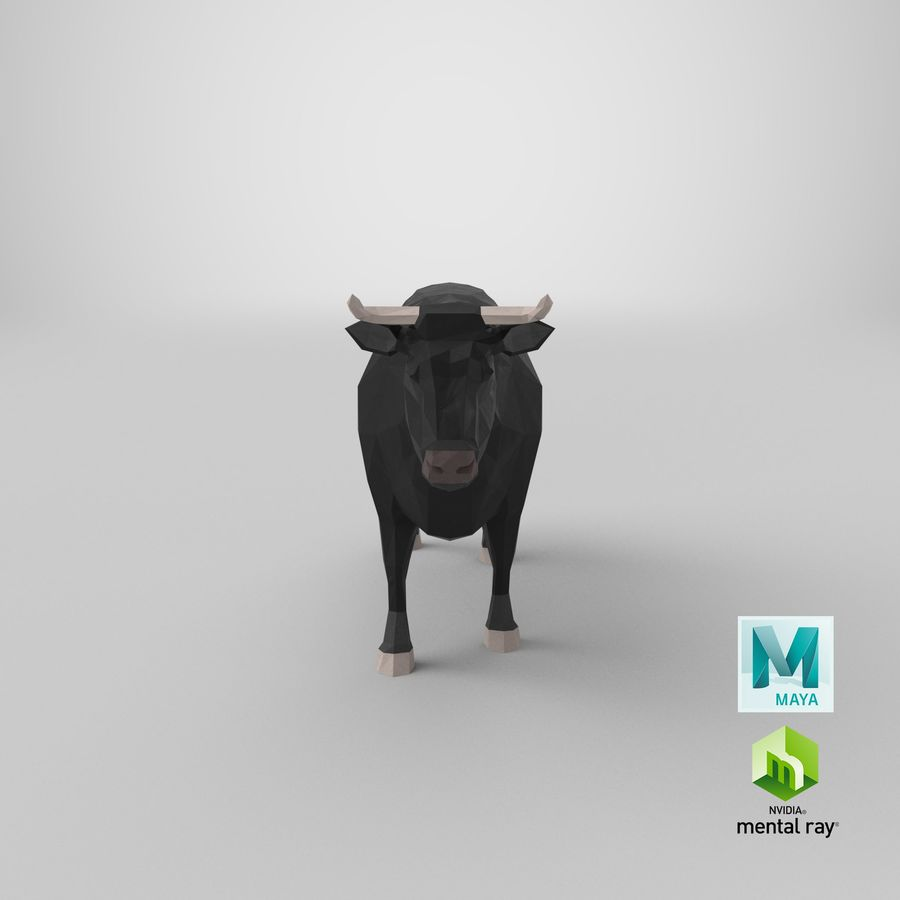 Bull Black Standing royalty-free 3d model - Preview no. 20