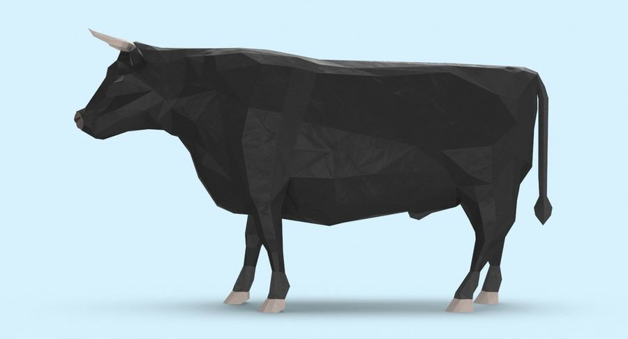 Bull Black Standing royalty-free 3d model - Preview no. 7