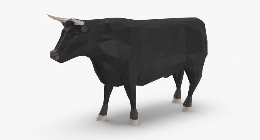 Bull Black Standing royalty-free 3d model - Preview no. 2