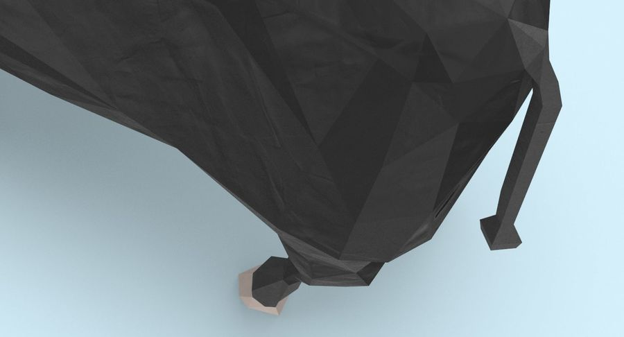 Bull Black Standing royalty-free 3d model - Preview no. 10
