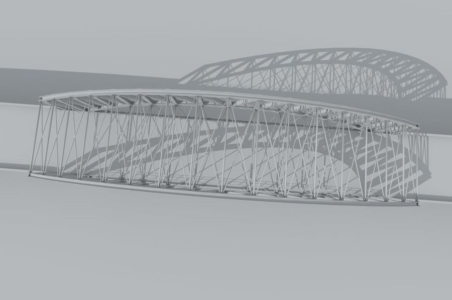 Road bridge royalty-free 3d model - Preview no. 5