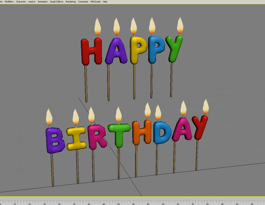 Happy Birthday Candles royalty-free 3d model - Preview no. 3