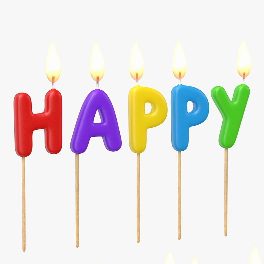 Happy Birthday Candles royalty-free 3d model - Preview no. 5
