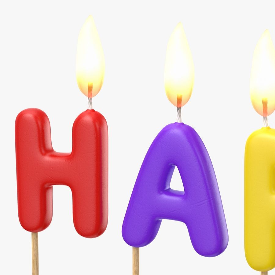 Happy Birthday Candles royalty-free 3d model - Preview no. 7